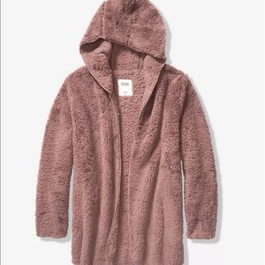 Victoria's Secret pink teddy Sherpa Cardigan hoode
